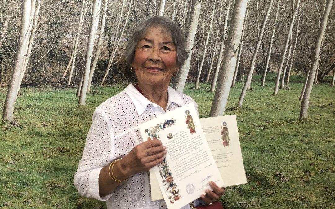 Peregrina con 89 años y una gran devoción a Santiago
